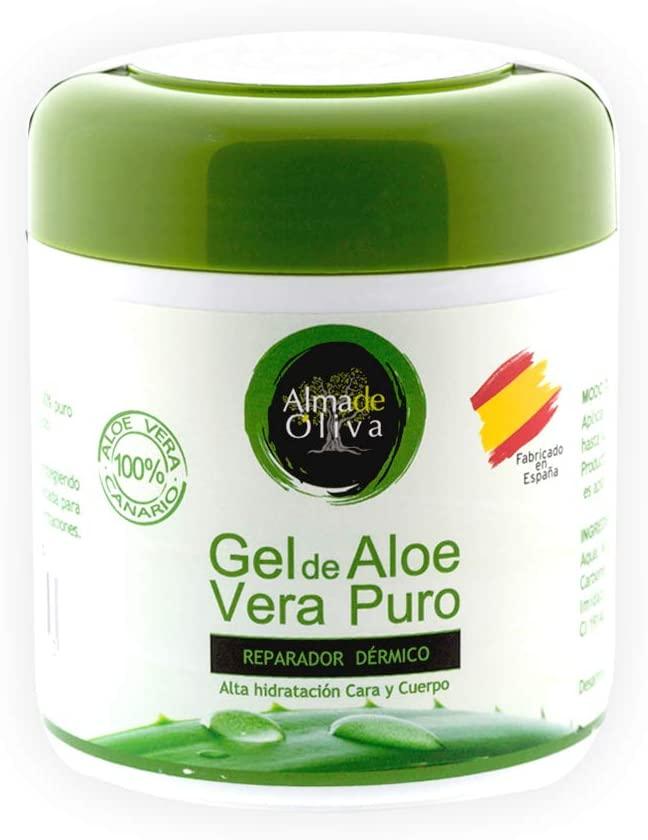 Gel Idratante Aloe Vera Isole Canarie 100% 500 ml. Crema riparatrice Corpo Viso Mani per pelle screpolata. Crema Uomo-Donna per ustioni, dopobarba e doposole